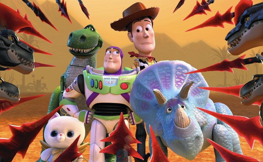 """""""Toy Story That Time Forgot"""" features Trixie, right, and pals, who must look to her for help."""