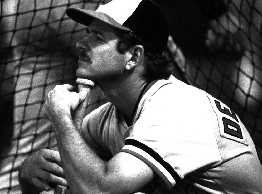 Rick Dempsey is shown with the Baltimore Orioles during the 1983 playoffs.
