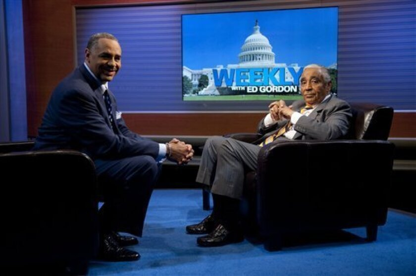 """FILE - In this Oct. 1, 2010 file photo originally released by BET, Ed Gordon, host of """"Weekly with Ed Gordon"""" on BET, interviews Congressman Charles B. Rangel, D-N.Y., in Washington. (AP Photo/BET, Scott Gries)"""