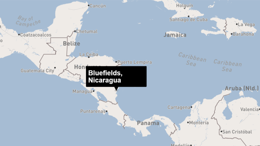 This map shows the approximate location of Bluefields, Nicaragua.