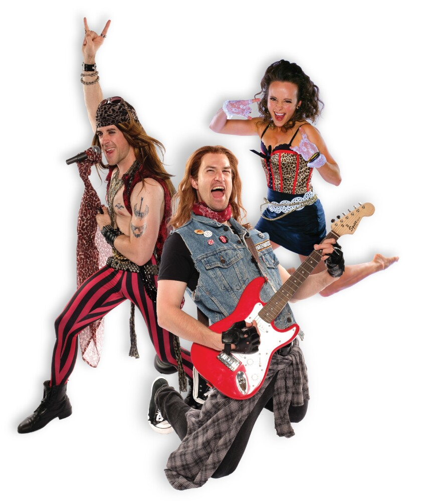 "Bryan Banville, Rory Gilbert and Megan Carmitchel (from left) star in Cygnet Theatre's ""Rock of Ages."""