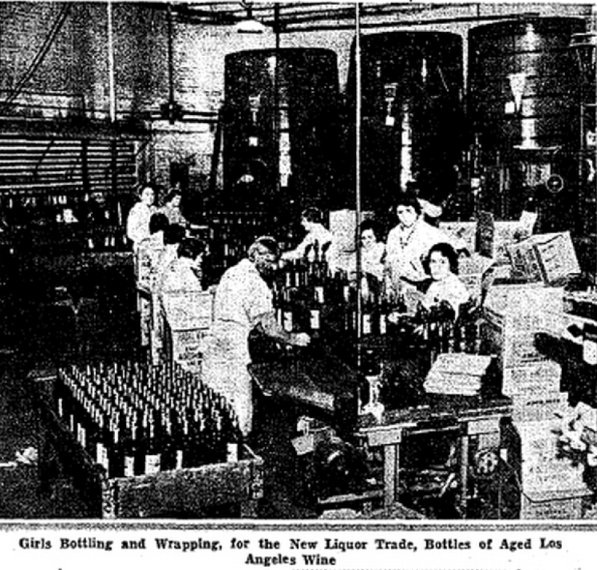 "This photo was published in a horizontal series on Page 6 of the Dec. 6, 1933, Los Angeles Times under the headline ""Flow of Legal Liquor Starts Again in Los Angeles as Prohibition Officially Ceases."""