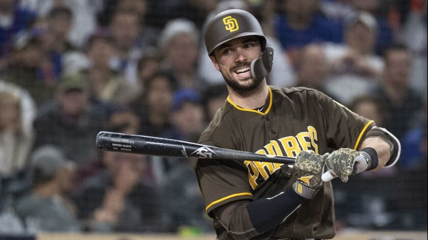 San Diego Padres catcher Austin Hedges during a baseball game against the New York Mets in San Diego