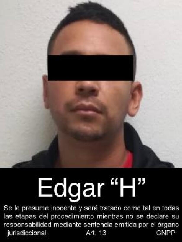 Una foto de Edgar 'El Caimán' Herrera Pardo en su detención en 2019 en México.