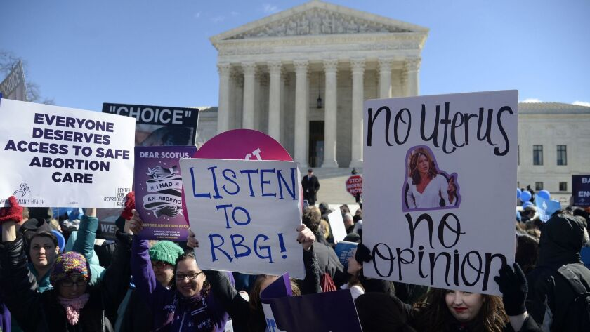 Supporters of legal access to abortion, as well as anti-abortion activists, rally outside the U.S. Supreme Court in 2016.