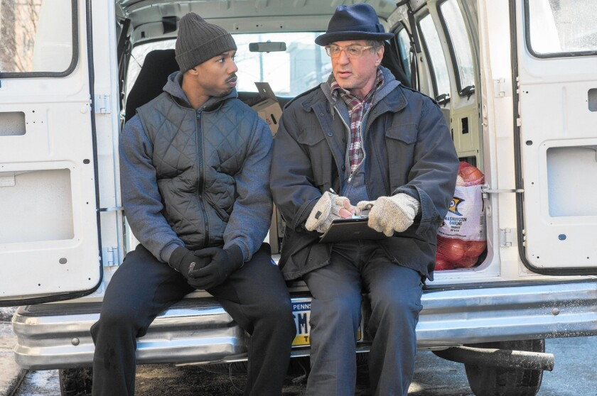 "Michael B. Jordan, left, and Sylvester Stallone in a scene from ""Creed."""