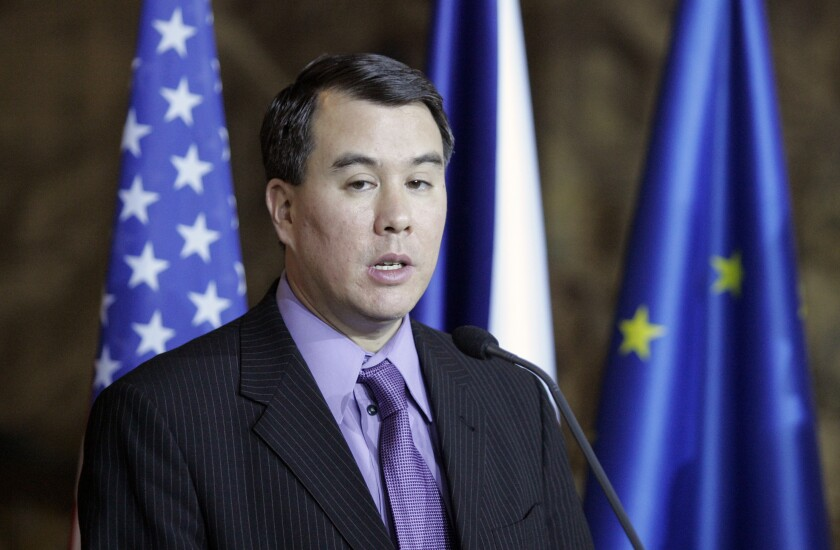 John Rood, then an undersecretary for arms control and international security in the State Department, at a news conference in Prague in 2008.