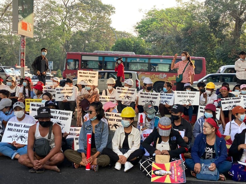 Protesters against Myanmar's military government in Yangon