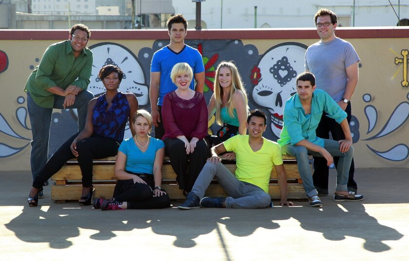 Member of the San Diego theater troupe Circle Circle dot dot, photographed in 2012 (left to right): Patrick Kelly, Melissa Coleman Reed, Soroya Rowley, Evan Kendig, Katie Harroff, Samantha Ginn, Shaun Tuazon, Justin Martin and Brendan Cavalier (standing).