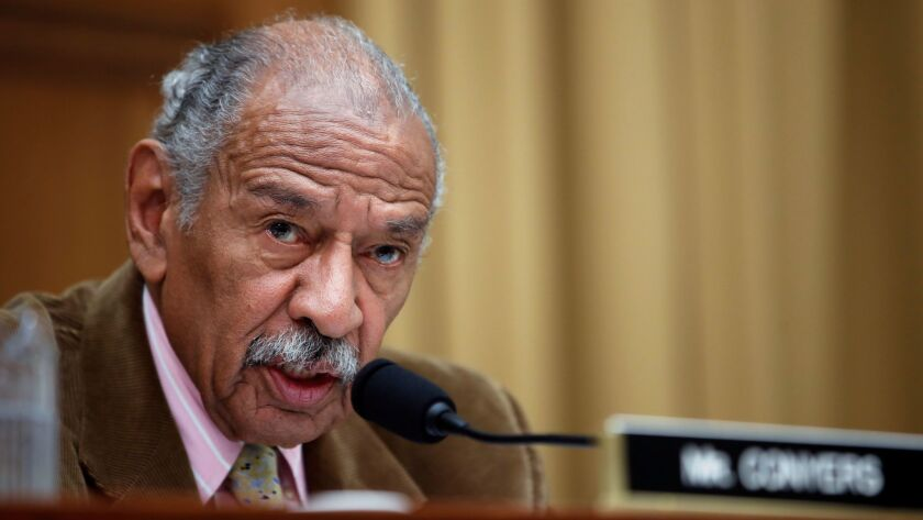 In this April 4, 2017, file photo, Rep. John Conyers (D-Mich.) speaks during a hearing of the House Judiciary subcommittee on Capitol Hill in Washington.