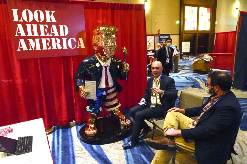 Look Ahead America sponsor Matt Braynard talks to conference attendees in February.