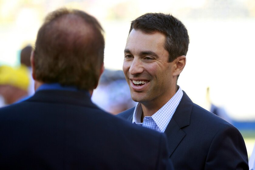 Chargers General Manager Tom Telesco, talking with team president Dean Spanos before a game last season.