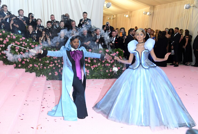 Stylist Law Roach and his client Zendaya, dressed as Cinderella in a Tommy Hilfiger gown, attend the 2019 Met Gala