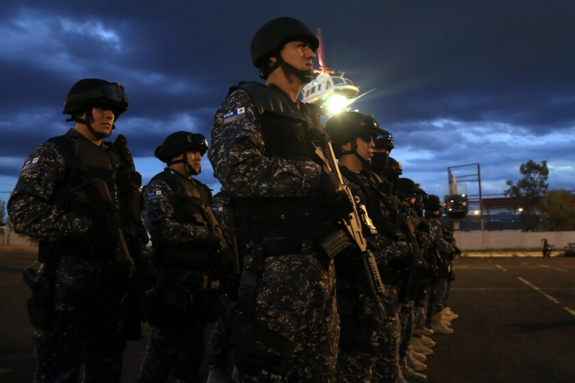 Members of the Federal Police arrive Morelia city, Michoacan state, Mexico.
