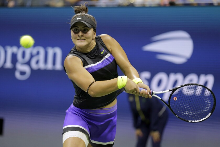 Bianca Andreescu hits a return during her victory over Taylor Townsend in the fourth round of the U.S. Open on Monday.