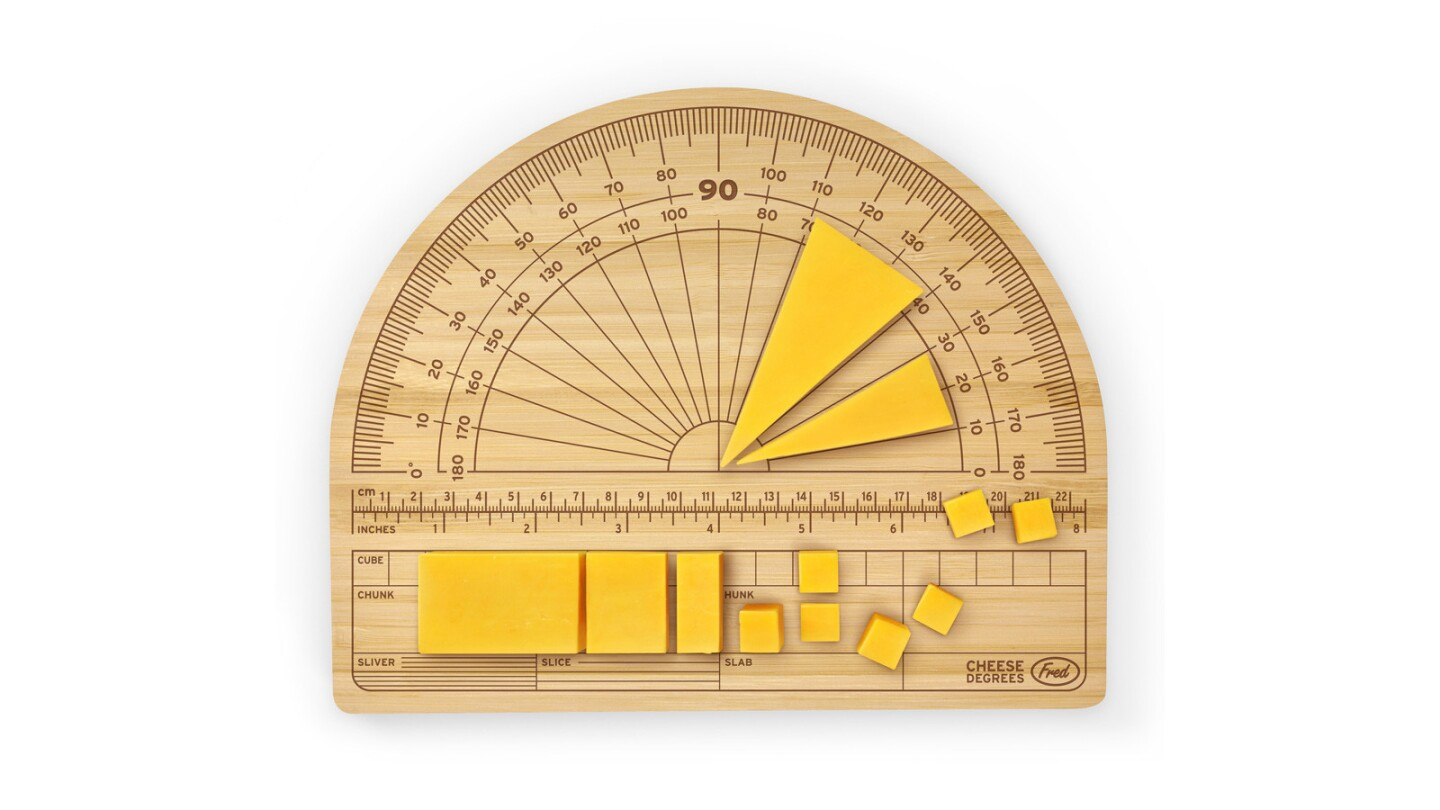 Cheese Degrees bamboo cutting board, $19.99 at UncommonGoods.com.