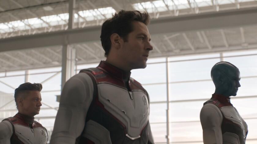 L to R: Hawkeye/Clint Barton (Jeremy Renner), Ant-Man/Scott Lang (Paul Rudd) and Nebula (Karen Gilla