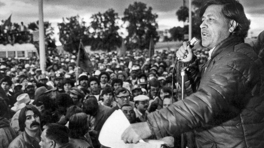 Feb. 2, 1979: Cesar Chavez speaks to members of the United Farm Workers during a rally in the Imperial Valley. The UFW was staging a lettuce growers strike.