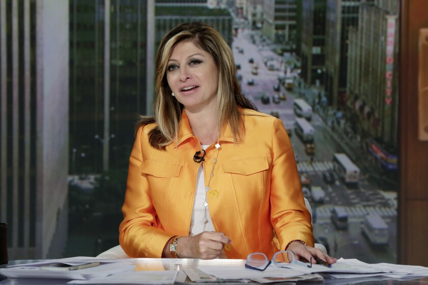 """Maria Bartiromo appears on her """"Mornings with Maria"""" program, on the Fox Business Network, in New York on Tuesday, June 23, 2015."""