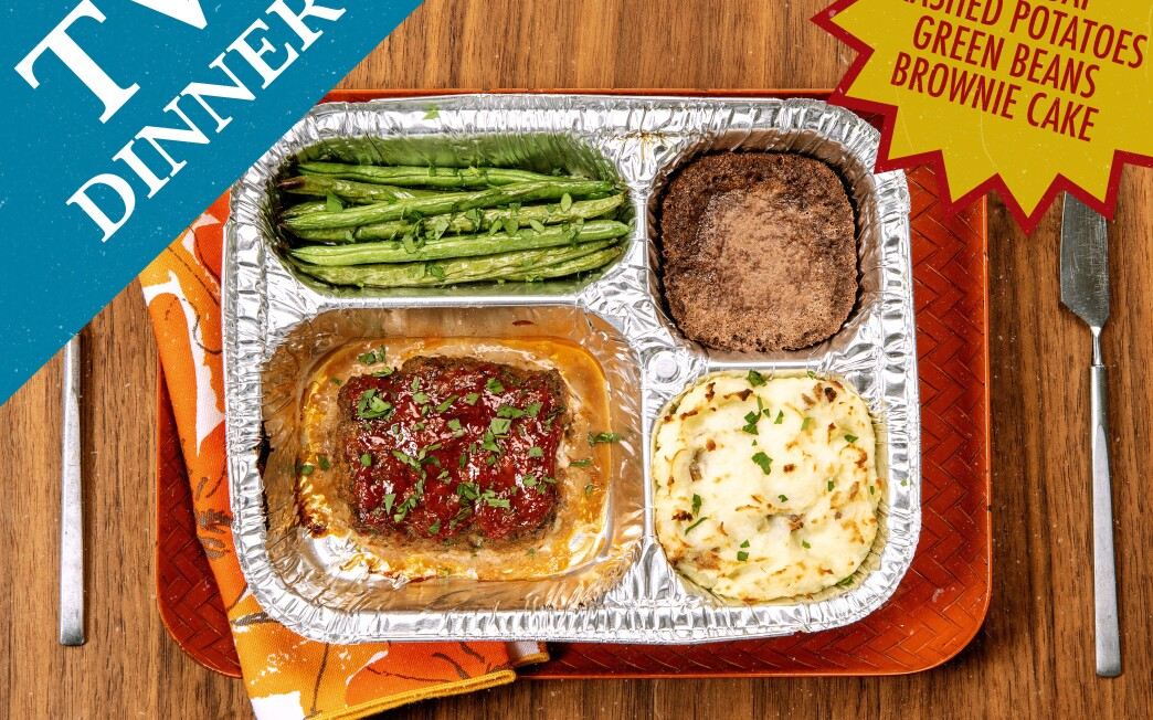 TV dinner: meatloaf, mashed potatoes, green beans and a brownie.