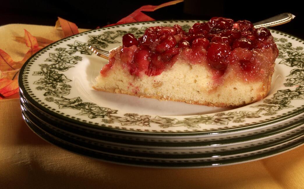 Upside-down cranberry cake