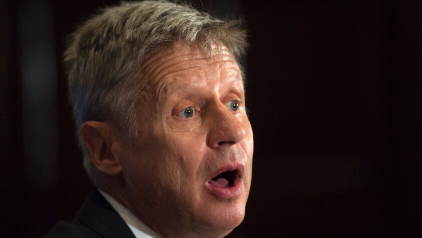 Gary Johnson, the Libertarian candidate for president, is a former Republican governor of New Mexico.