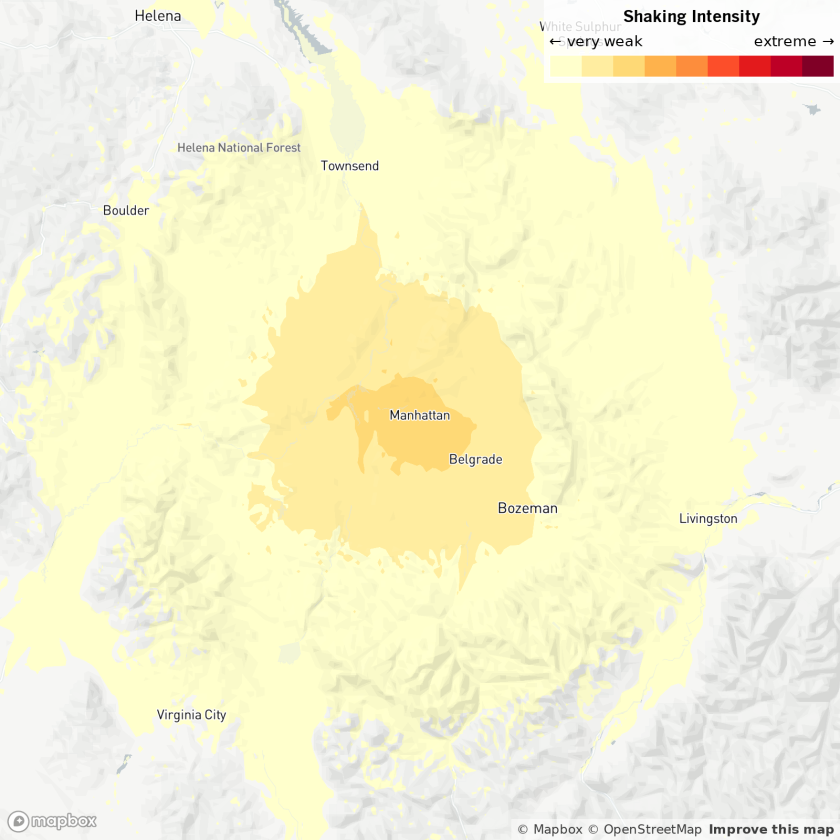The shaking intensity of a 4.2 earthquake near Bozeman, Mont.