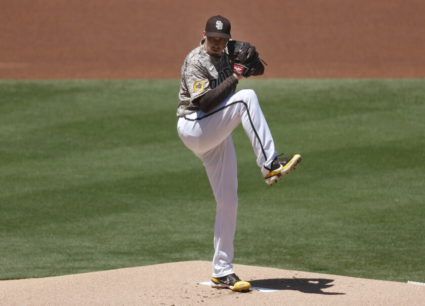 Padres pitcher Blake Snell throws against the Los Angeles Dodgers on Sunday at Petco Park.