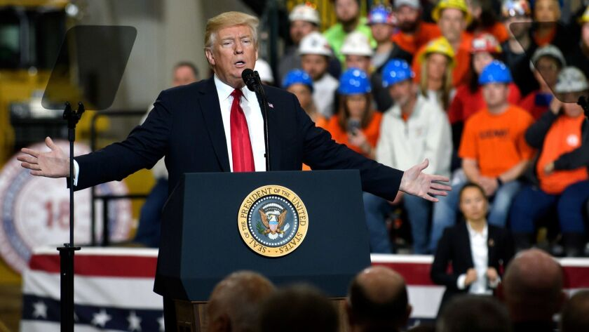 President Trump speaks Thursday at a union and apprentice training center in Richfield, Ohio.