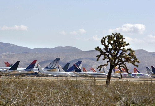 Nearly 200 planes are being stored at the Southern California Logistics Airport in Victorville, making the outpost more crowded at times than Los Angeles International Airport.