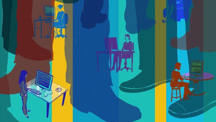 Illustration for Sunday biz story on women fleeing tech.