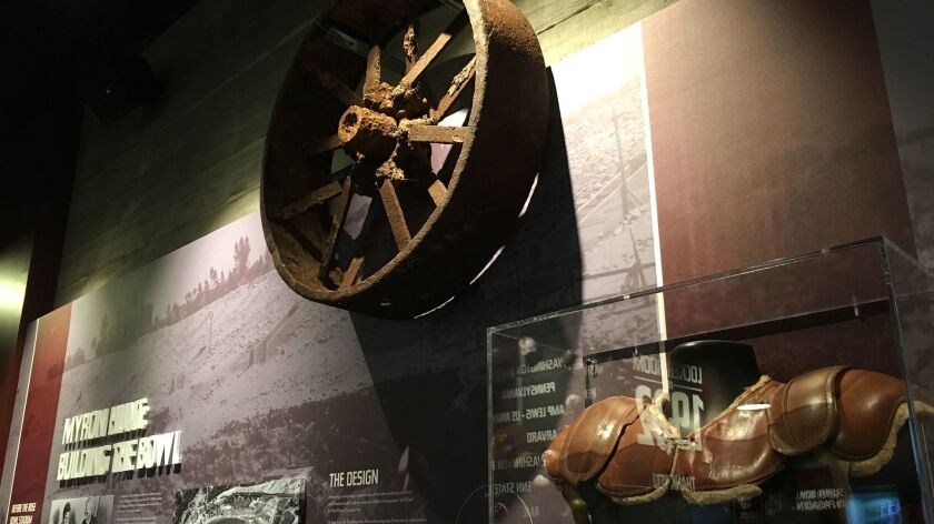 A wagon wheel dating to the stadium's construction is on display.