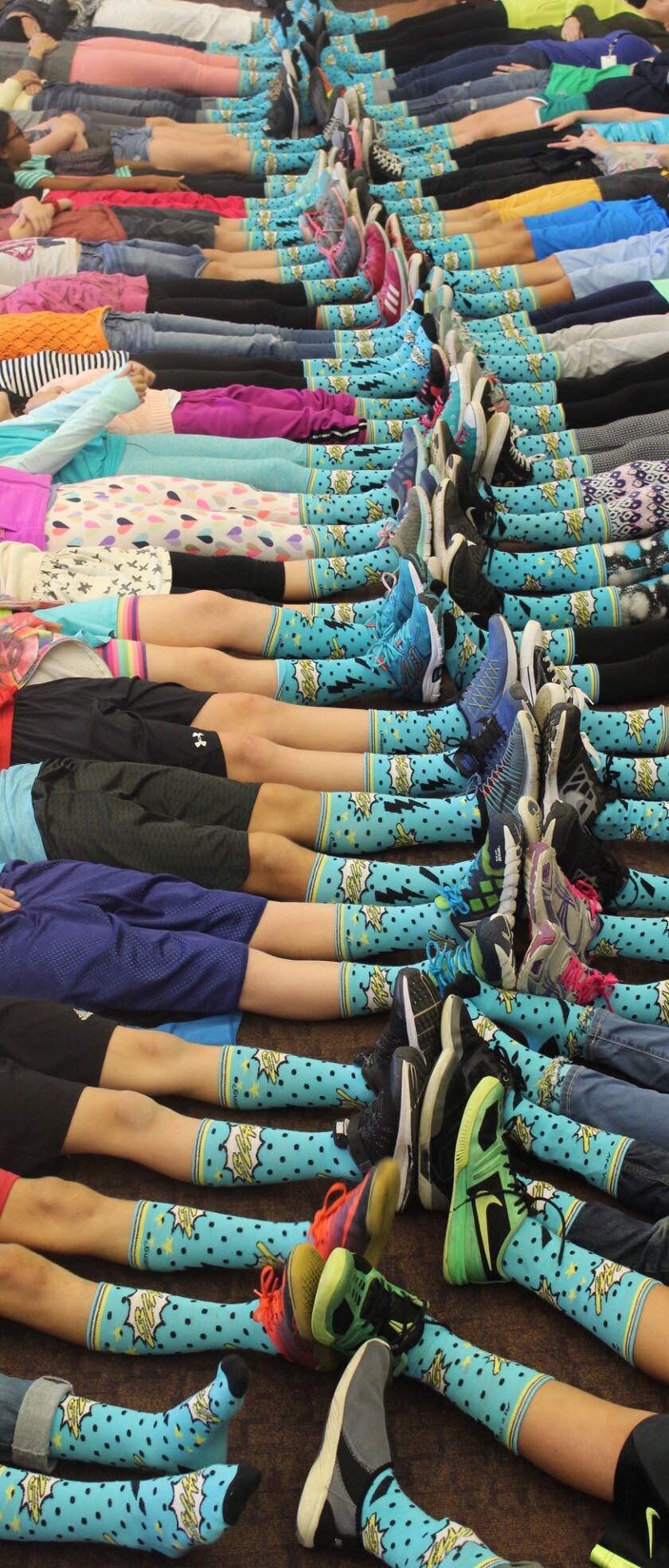 Solana Pacific students recently sold 111 pairs of socks and raised $625 to benefit a nonprofit group called Project ALS.
