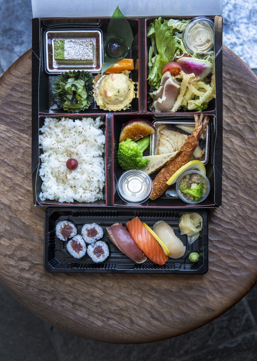 n/naka's $38 bento box with sushi and an assortment of Japanese comfort foods.