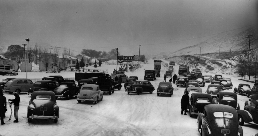Dec. 16, 1940: Hundreds of motor vehicles were halted at Gorman by snowstorm on Ridge Route.
