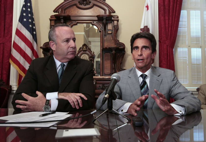State Sen. Mark Leno, D¿San Francisco, chair of the Senate budget committee, right, at a recent news conference on the budget with Sen. President Pro Tem Darrell Steinberg, D¿Sacramento. Both say the governor's prison plan is inadequate.