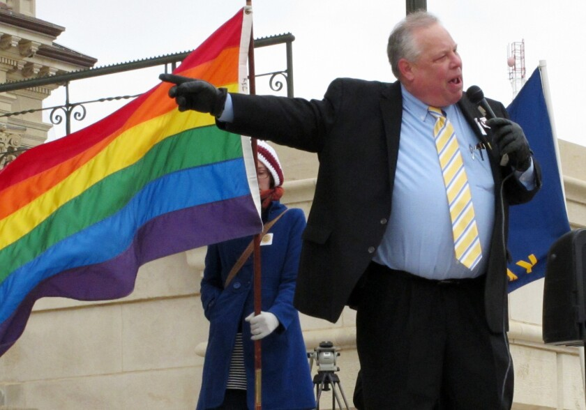 Tom Witt, executive director of Equality Kansas, the state's leading gay rights group, rallies support in February.