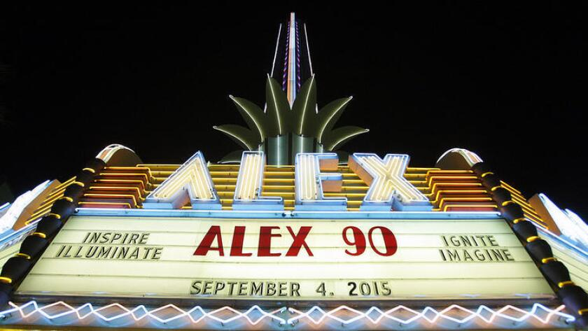 The historic Alex Theatre, just down the block from MONA, all lit up.