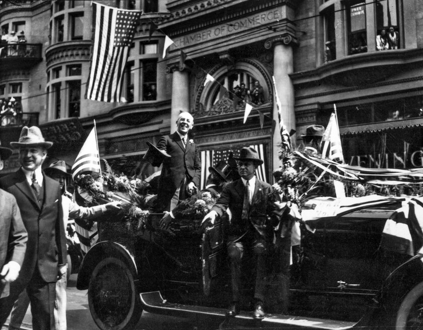 Sept. 20, 1919: A parade for President Woodrow Wilson in downtown Los Angeles.