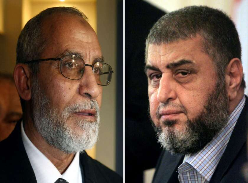 Arrest warrants have been issued for the Muslim Brotherhood's supreme guide, Mohamed Badie, left, and Khairat Shater, the organization's chief strategist and financier.