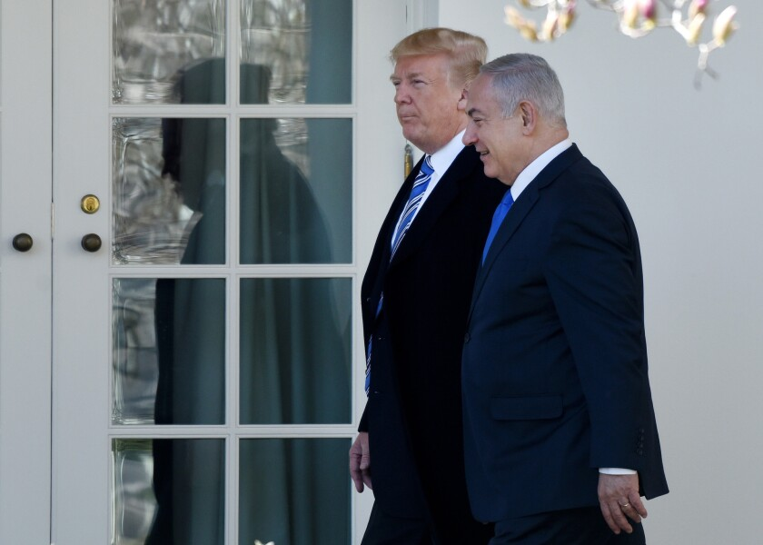 President Trump and Israeli Prime Minister Benjamin Netanyahu  outside the Oval Office on March 25, 2018.