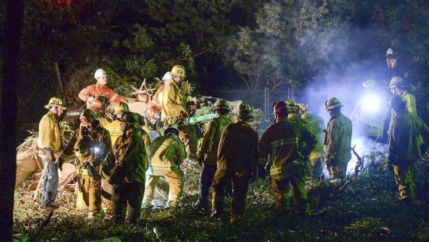 Los bomberos del condado de Los Angeles trabajan en la escena donde cayó un árbol en una fiesta de bodas, en Whittier el sábado por la tarde, matando a una persona e hiriendo a siete. (Keith Durflinger / Associated Press).