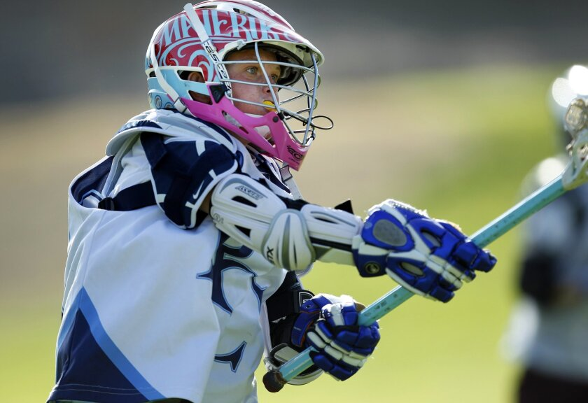 Nick Wallace in action at a recent lacrosse practice in Solana Beach.