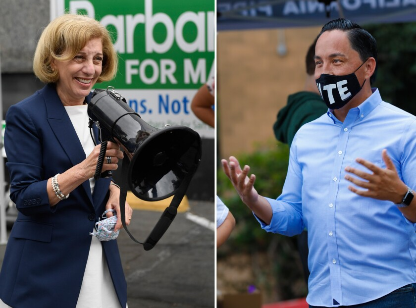 San Diego mayoral candidates Barbara Bry, left, and Todd Gloria at rallies on Saturday