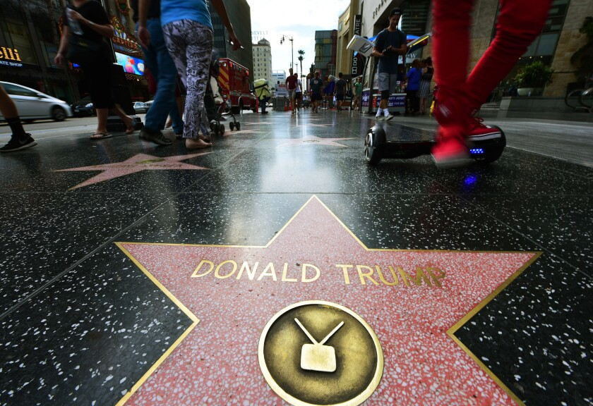 Republican presidential candidate Donald Trump's star on the Hollywood Walk of Fame, which he received in 2007 in the television category.