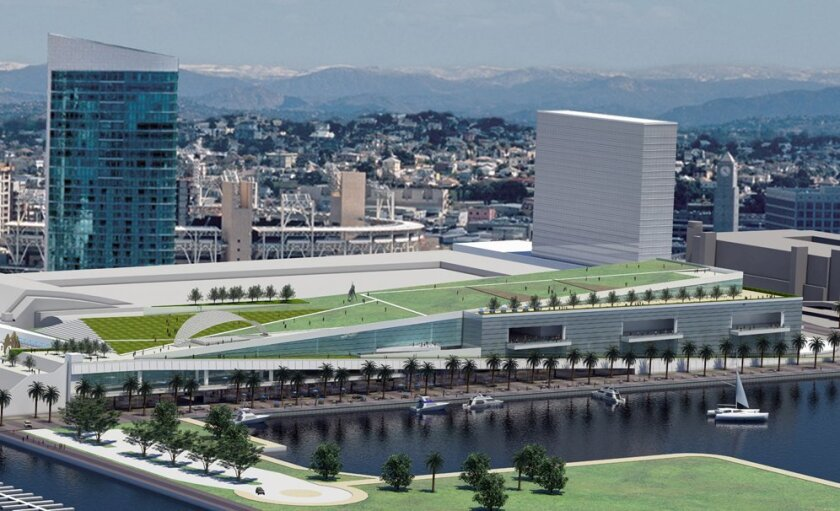 The expanded convention center would include more exhibit, meeting and ballroom space and a rooftop park.