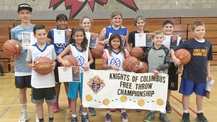 Winners in the annual Knights of Columbus Free Throw Contest