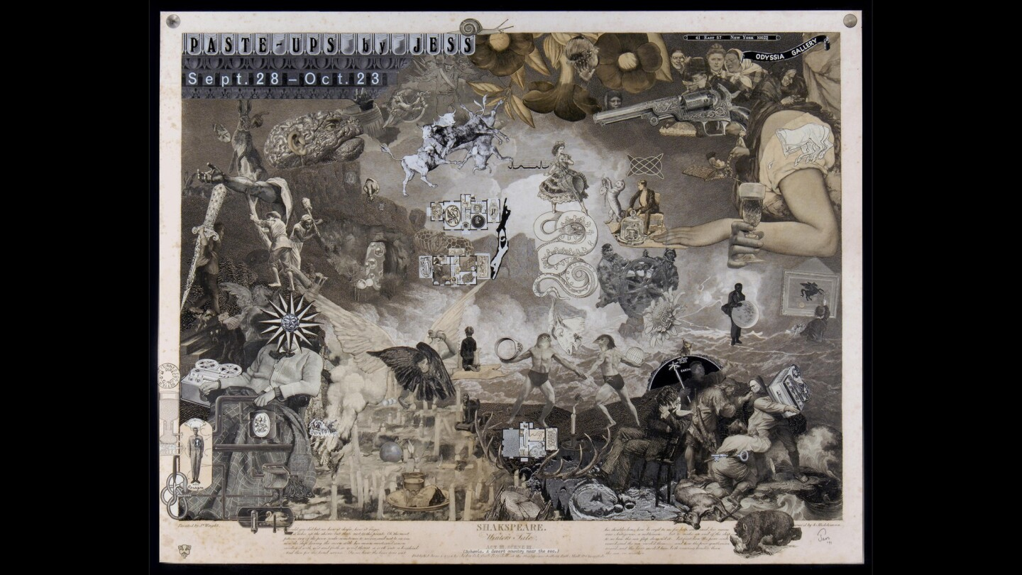 """Jess' collages, such as the 1971 """"Pate-Ups by Jess,"""" feature a wild mix of images. His work is part of the exhibition at the Pasadena Museum of California Art."""