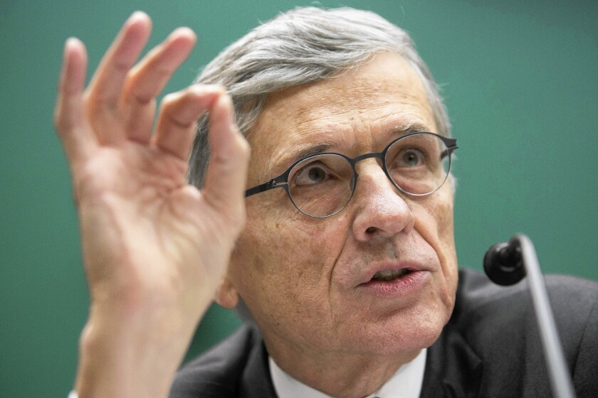 """Thomas """"Tom"""" Wheeler, chairman of the Federal Communications Commission (FCC), speaks during a hearing in Washington, D.C."""