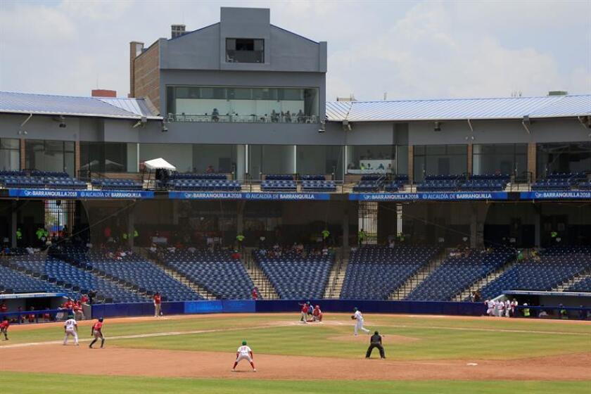 Vista general del partido entre las selecciones de béisbol de México y Panamá que se disputa en los XXIII Juegos Centroamericanos y del Caribe Barranquilla 2018, en Barranquilla (Colombia). EFE
